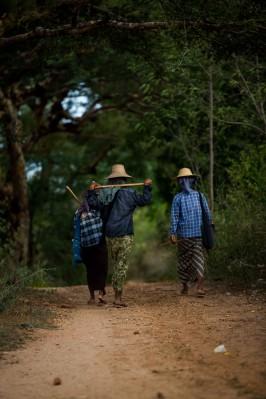 Paysanes au milieu des temples, Bagan